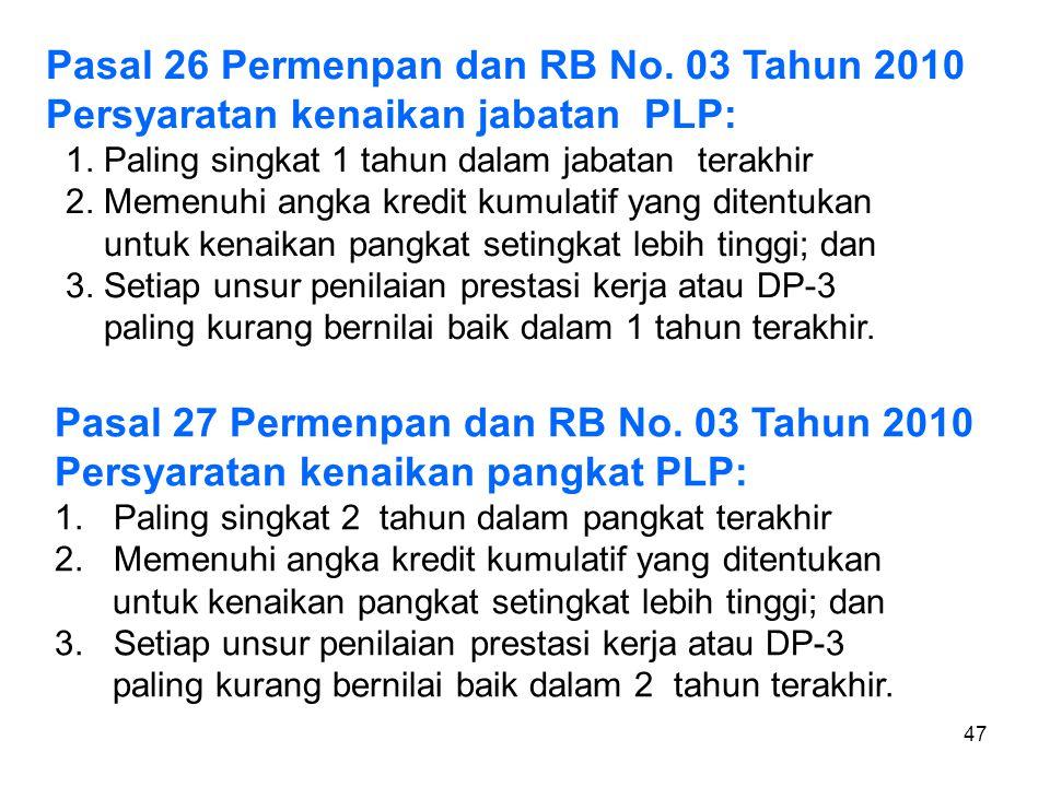 Pasal 26 Permenpan dan RB No. 03 Tahun 2010