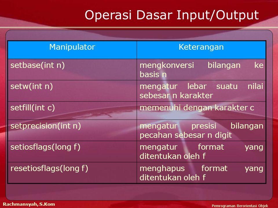 Operasi Dasar Input/Output