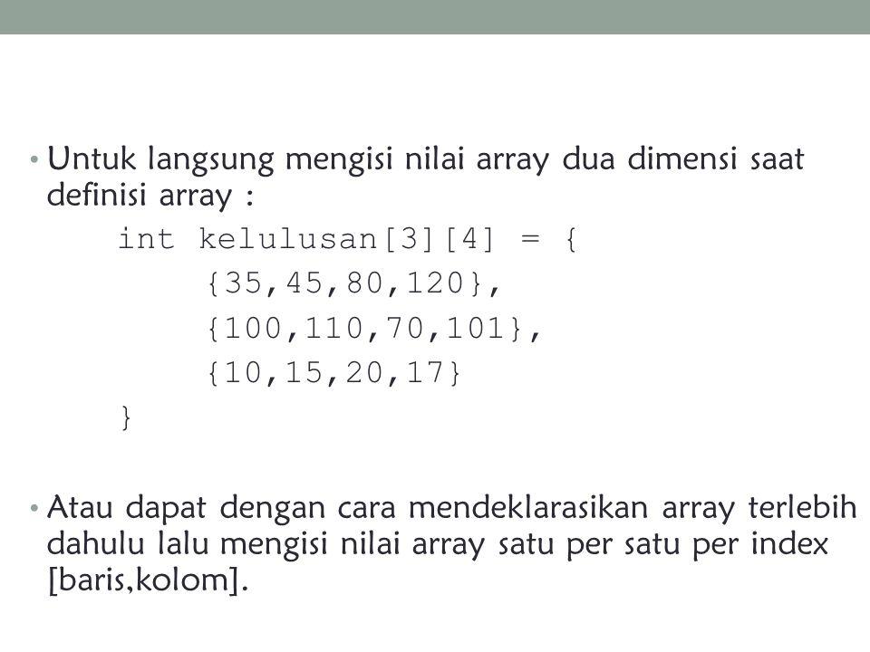 Untuk langsung mengisi nilai array dua dimensi saat definisi array :