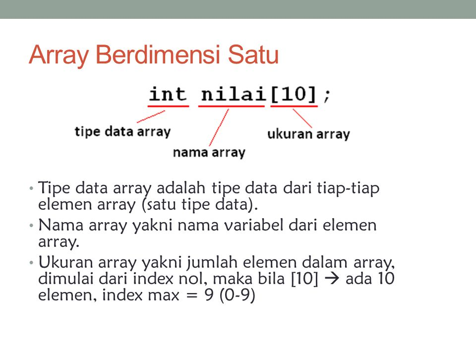 Array Berdimensi Satu Tipe data array adalah tipe data dari tiap-tiap elemen array (satu tipe data).