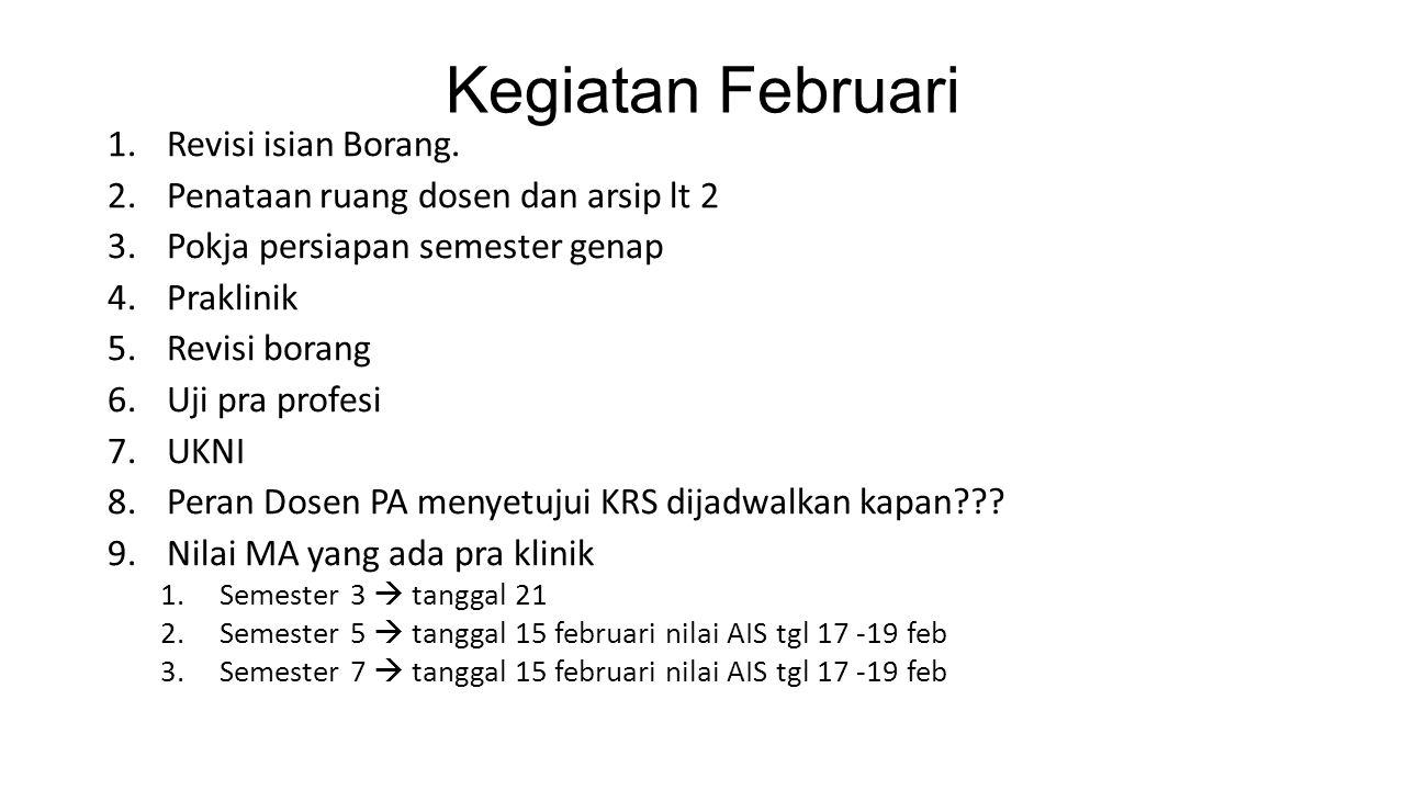 Kegiatan Februari Revisi isian Borang.
