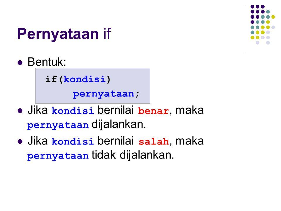 Pernyataan if Bentuk: if(kondisi)