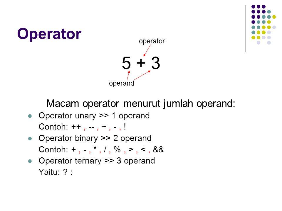 Macam operator menurut jumlah operand: