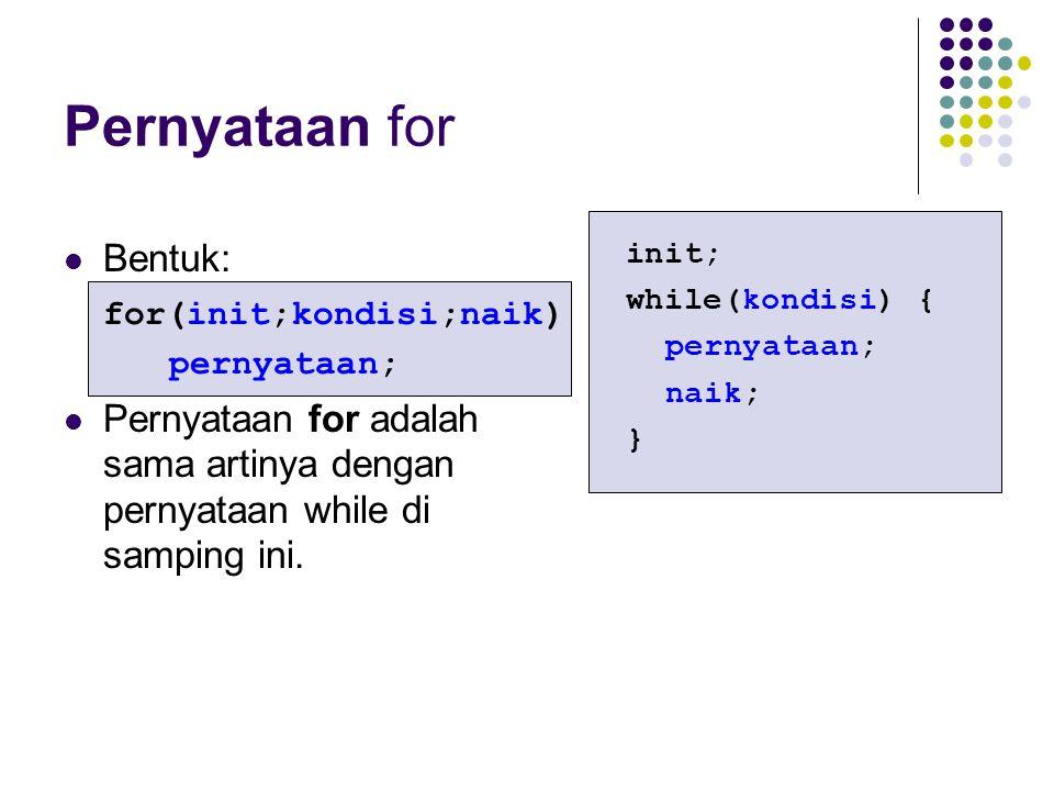 Pernyataan for Bentuk: for(init;kondisi;naik)
