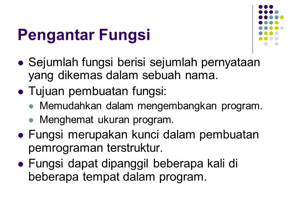 Pengantar Fungsi Sejumlah fungsi berisi sejumlah pernyataan yang dikemas dalam sebuah nama. Tujuan pembuatan fungsi: