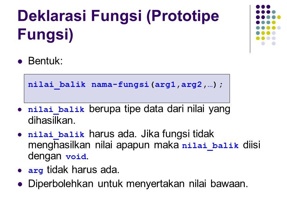 Deklarasi Fungsi (Prototipe Fungsi)
