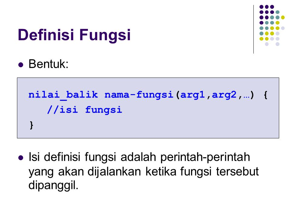 Definisi Fungsi Bentuk: