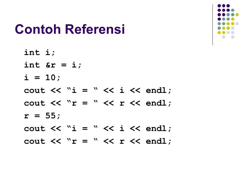 Contoh Referensi int i; int &r = i; i = 10;