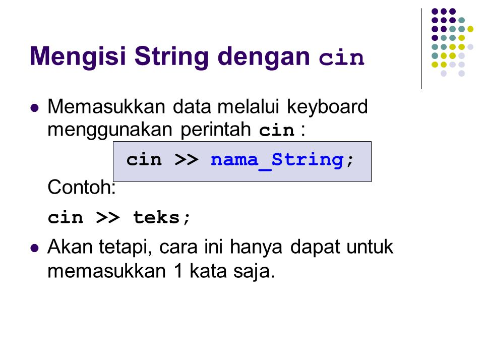 Mengisi String dengan cin