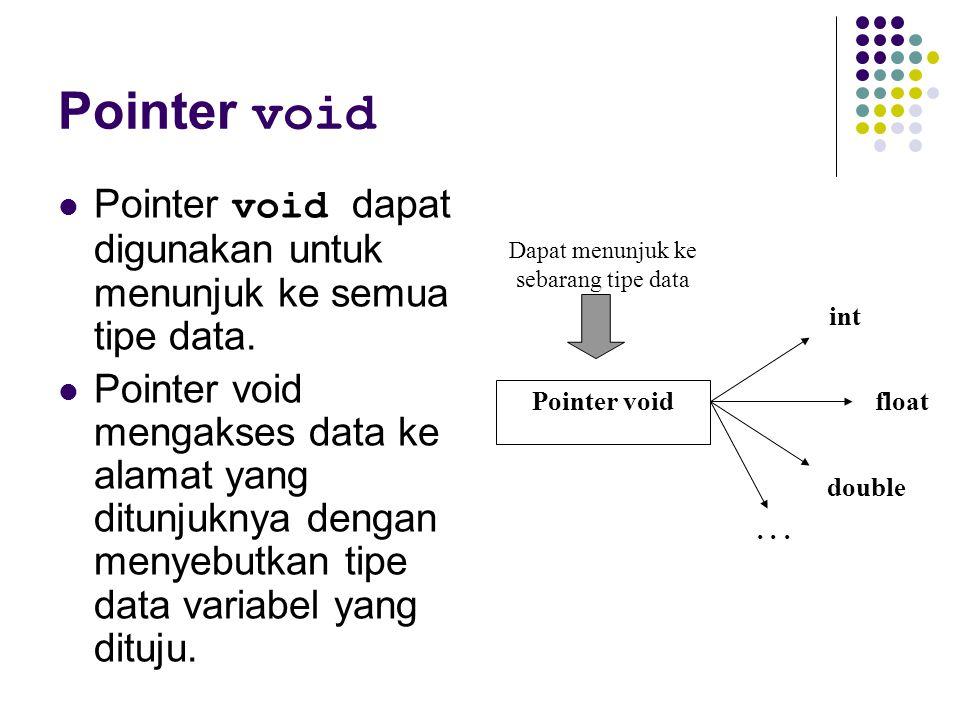 Dapat menunjuk ke sebarang tipe data