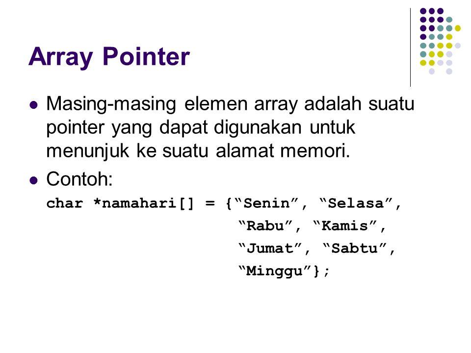 Array Pointer Masing-masing elemen array adalah suatu pointer yang dapat digunakan untuk menunjuk ke suatu alamat memori.