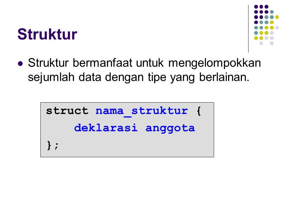 Struktur Struktur bermanfaat untuk mengelompokkan sejumlah data dengan tipe yang berlainan. struct nama_struktur {