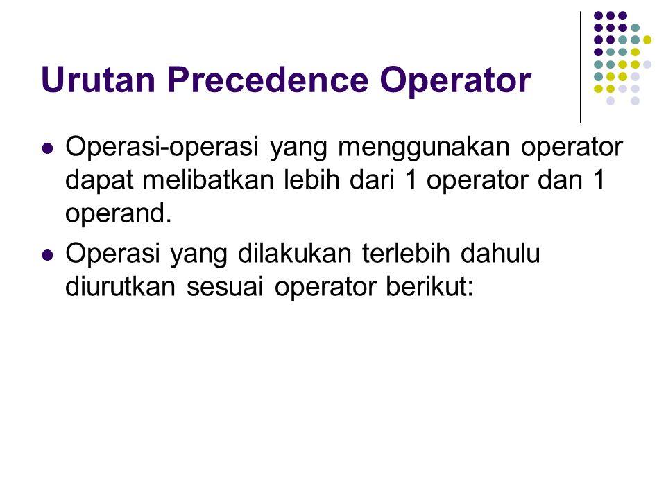 Urutan Precedence Operator