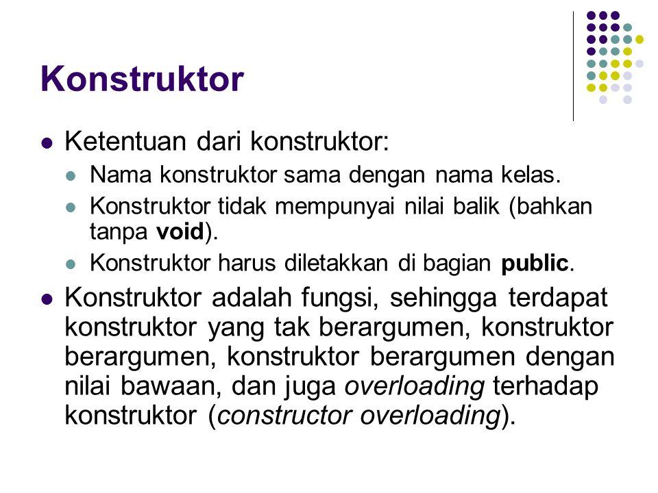 Konstruktor Ketentuan dari konstruktor: