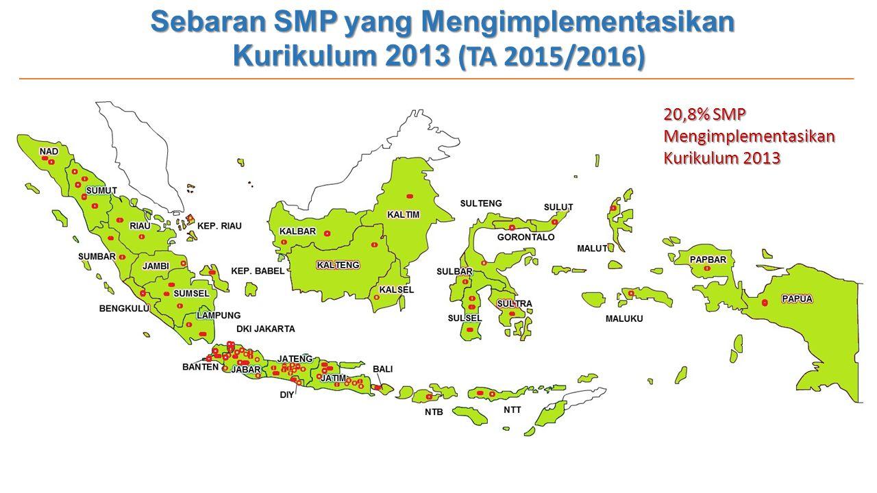 Sebaran SMP yang Mengimplementasikan Kurikulum 2013 (TA 2015/2016)