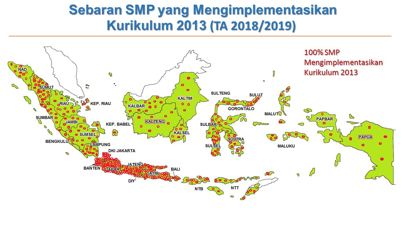 Sebaran SMP yang Mengimplementasikan Kurikulum 2013 (TA 2018/2019)