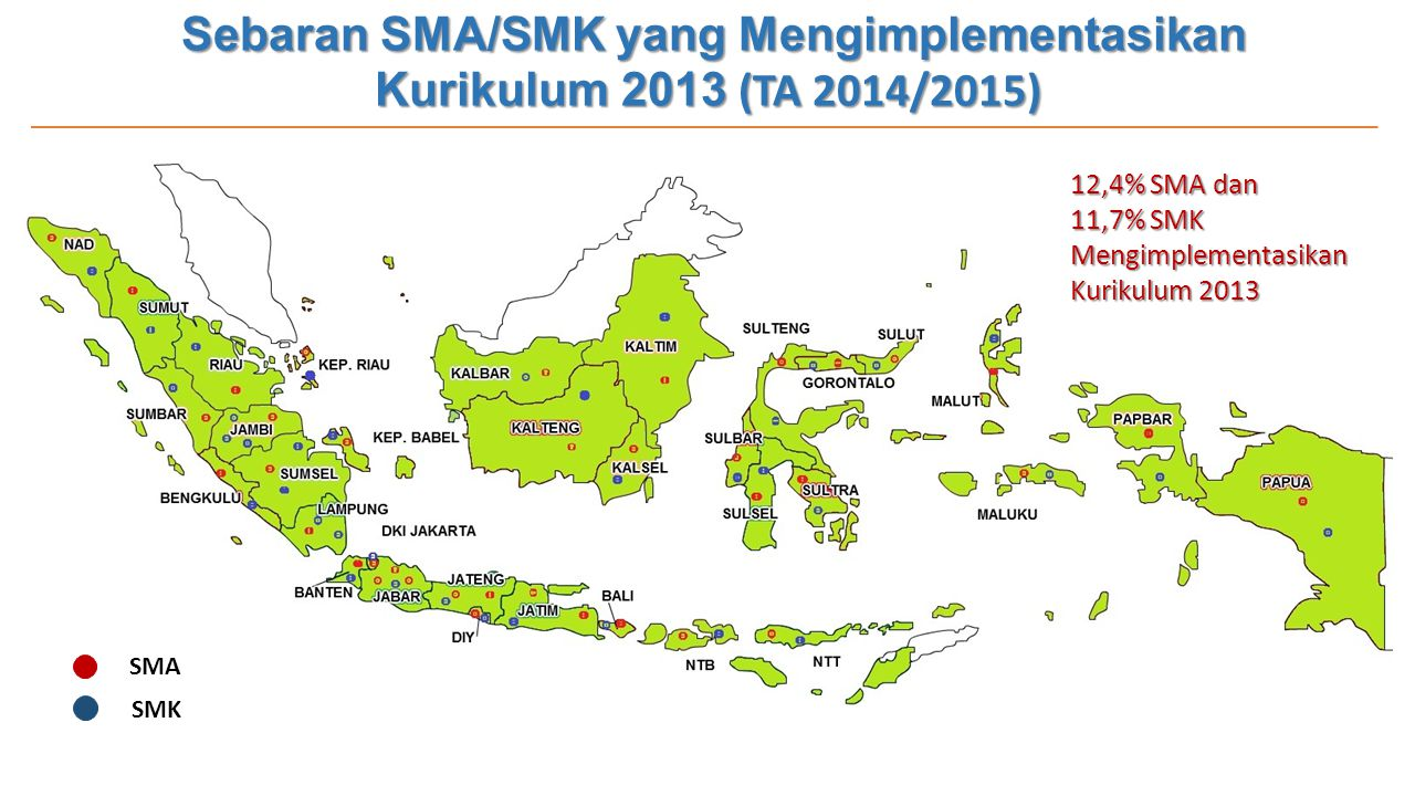 Sebaran SMA/SMK yang Mengimplementasikan Kurikulum 2013 (TA 2014/2015)