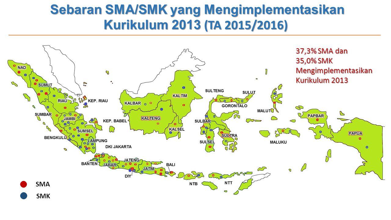 Sebaran SMA/SMK yang Mengimplementasikan Kurikulum 2013 (TA 2015/2016)
