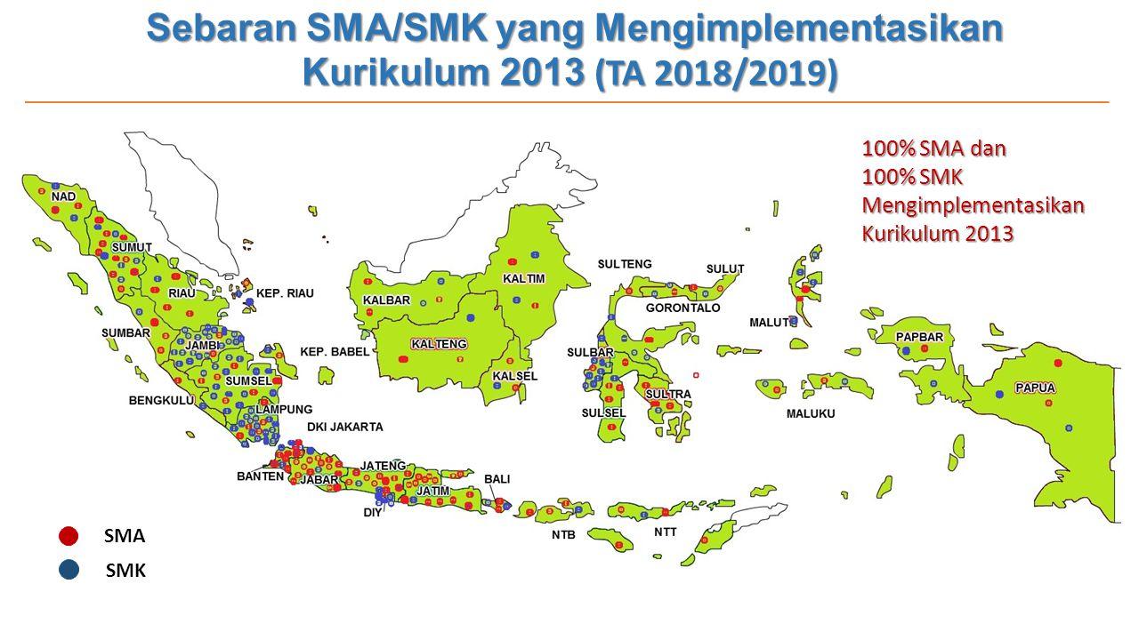 Sebaran SMA/SMK yang Mengimplementasikan Kurikulum 2013 (TA 2018/2019)