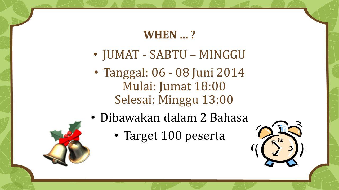 Tanggal: 06 - 08 Juni 2014 Mulai: Jumat 18:00 Selesai: Minggu 13:00