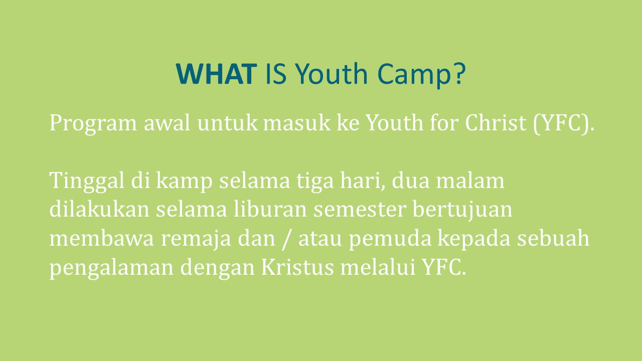 WHAT IS Youth Camp