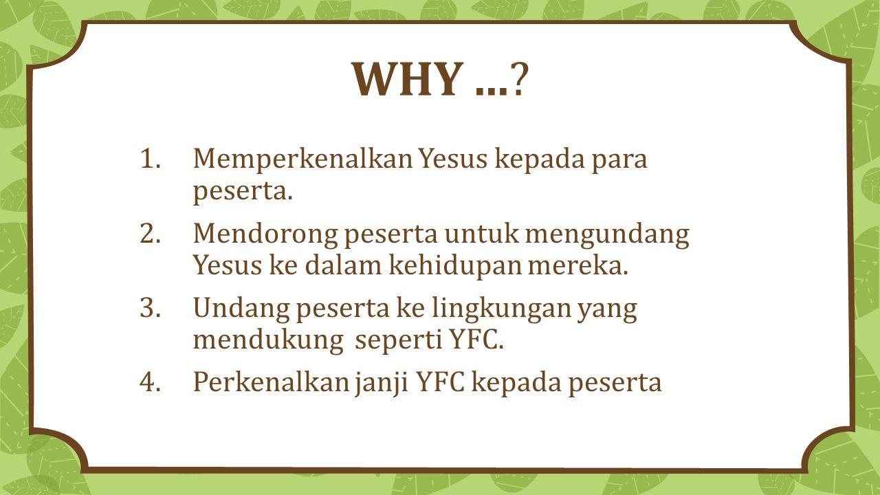 WHY ... Memperkenalkan Yesus kepada para peserta.