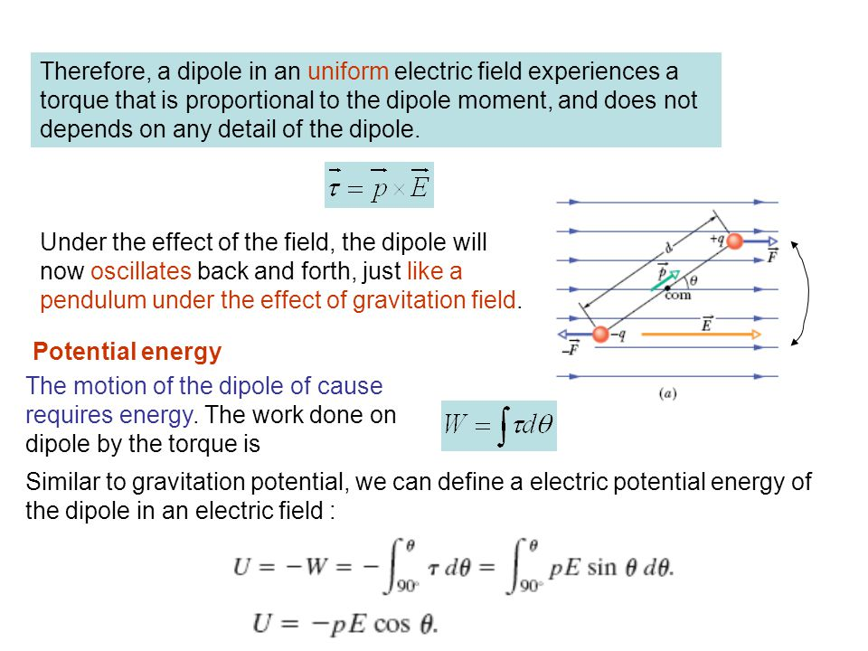 Therefore, a dipole in an uniform electric field experiences a torque that is proportional to the dipole moment, and does not depends on any detail of the dipole.