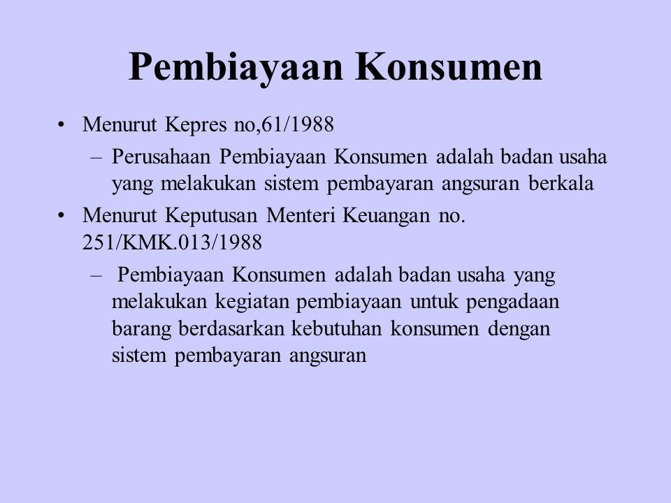 Pembiayaan Konsumen Menurut Kepres no,61/1988