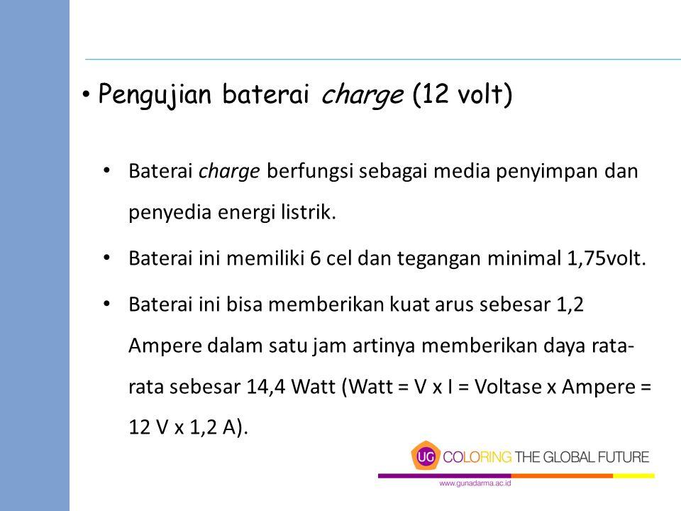 Pengujian baterai charge (12 volt)