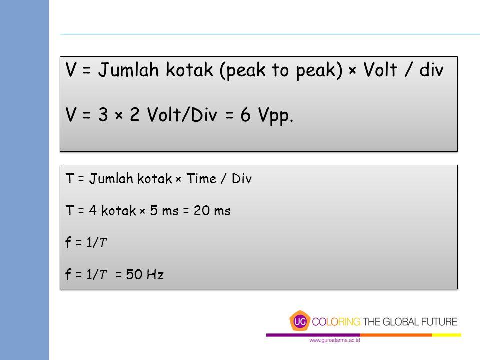 V = Jumlah kotak (peak to peak) × Volt / div