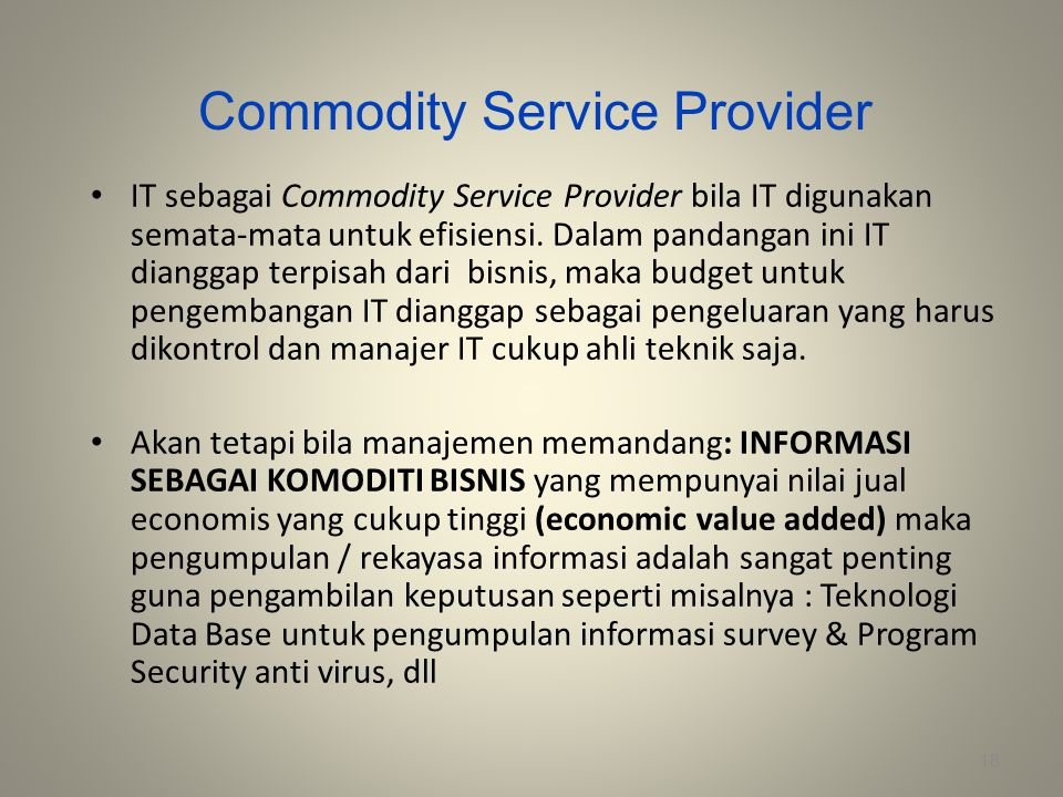 Commodity Service Provider