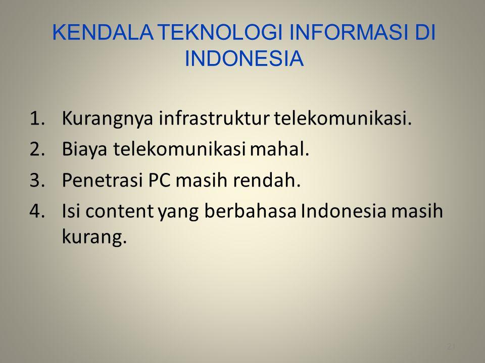 KENDALA TEKNOLOGI INFORMASI DI INDONESIA
