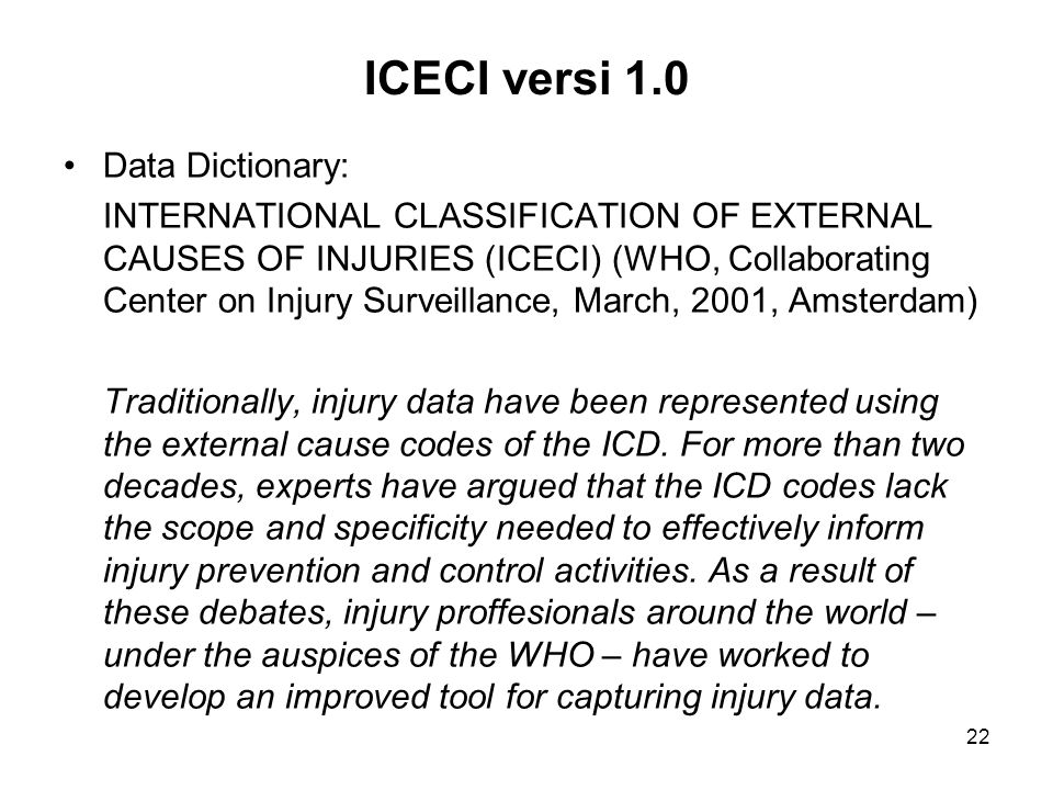 ICECI versi 1.0 Data Dictionary: