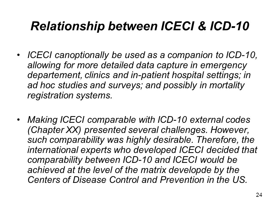 Relationship between ICECI & ICD-10