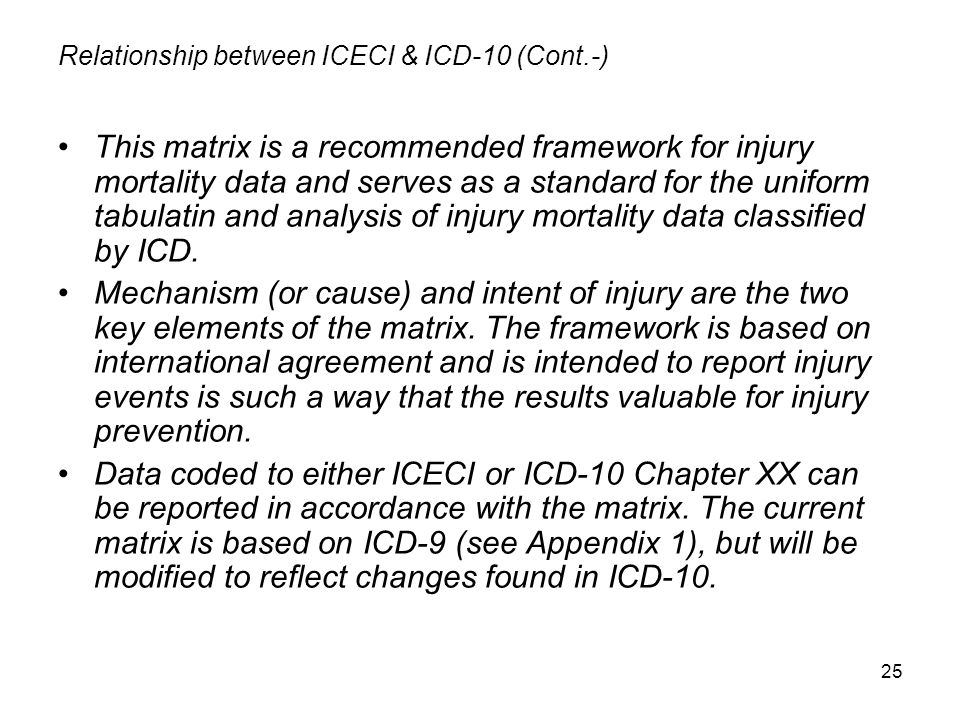 Relationship between ICECI & ICD-10 (Cont.-)