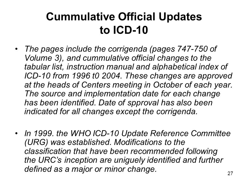 Cummulative Official Updates to ICD-10