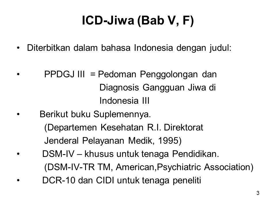 ICD-Jiwa (Bab V, F) Diterbitkan dalam bahasa Indonesia dengan judul: