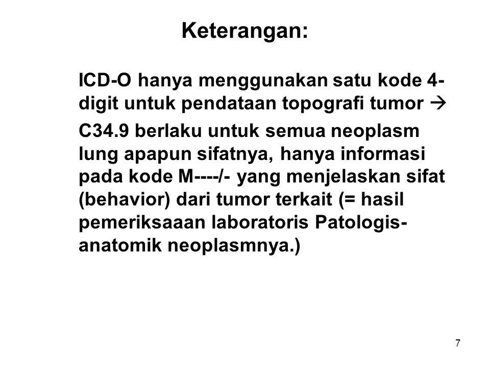 Keterangan: ICD-O hanya menggunakan satu kode 4- digit untuk pendataan topografi tumor 