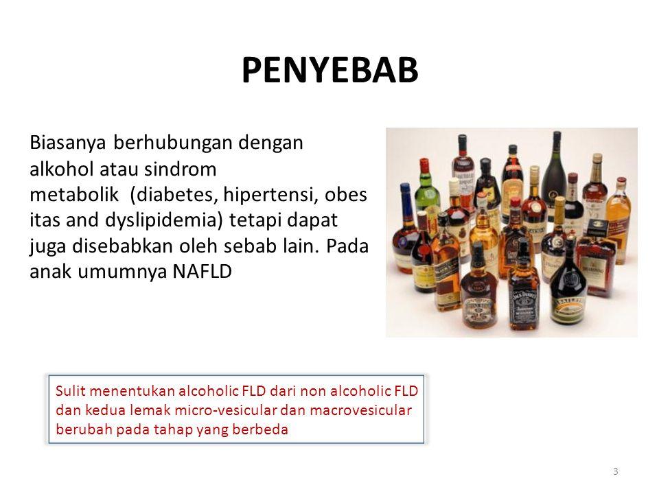 Biasanya berhubungan dengan alkohol atau sindrom
