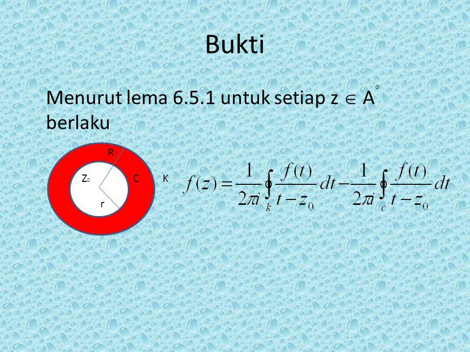 Bukti Menurut lema 6.5.1 untuk setiap z  A berlaku R Z0 C K r