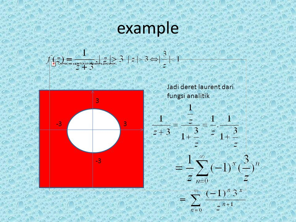 example Jadi deret laurent dari fungsi analitik 3 -3 3 -3
