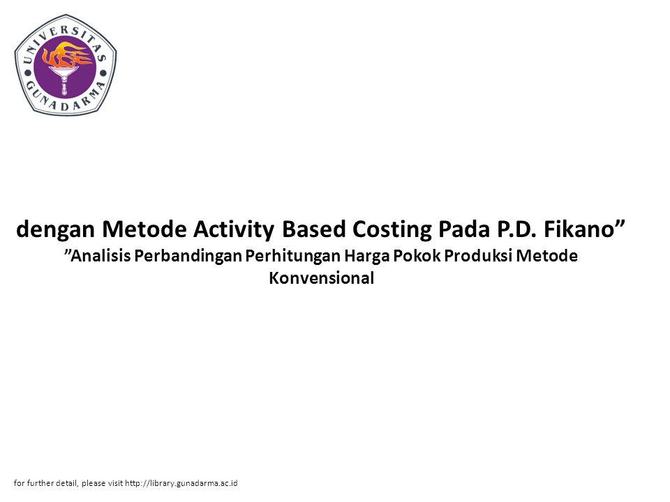 dengan Metode Activity Based Costing Pada P. D