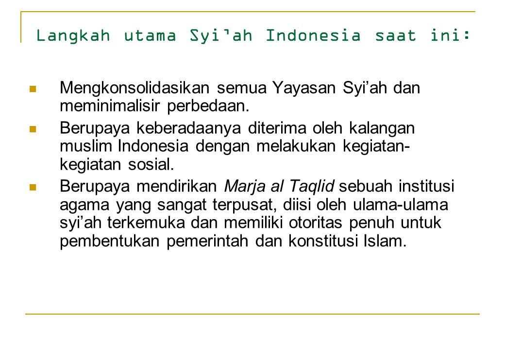 Langkah utama Syi'ah Indonesia saat ini: