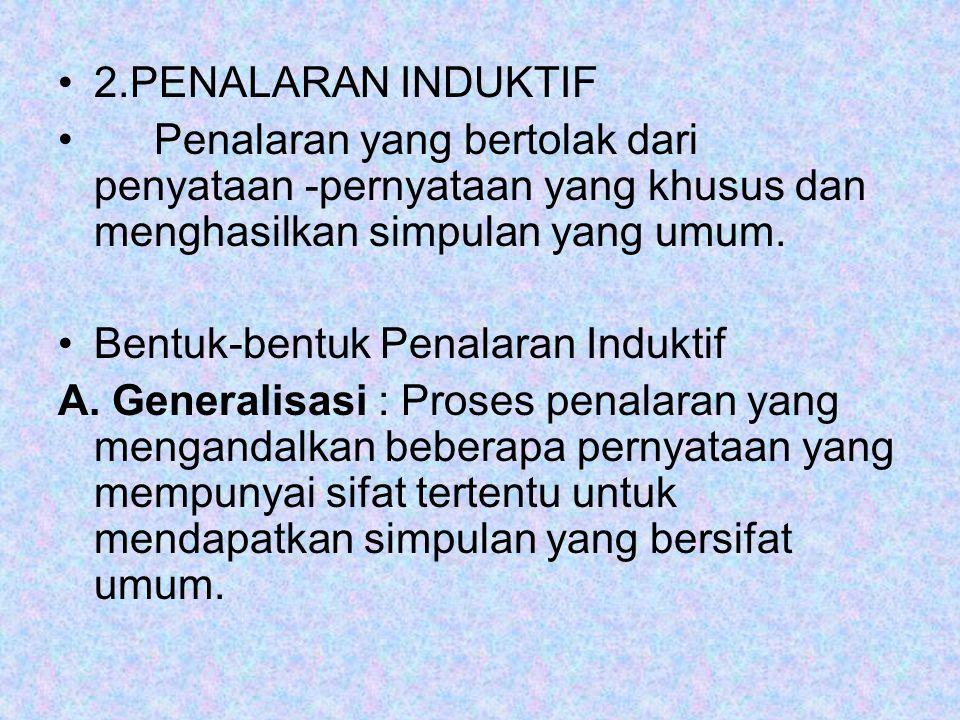 2.PENALARAN INDUKTIF Penalaran yang bertolak dari penyataan -pernyataan yang khusus dan menghasilkan simpulan yang umum.