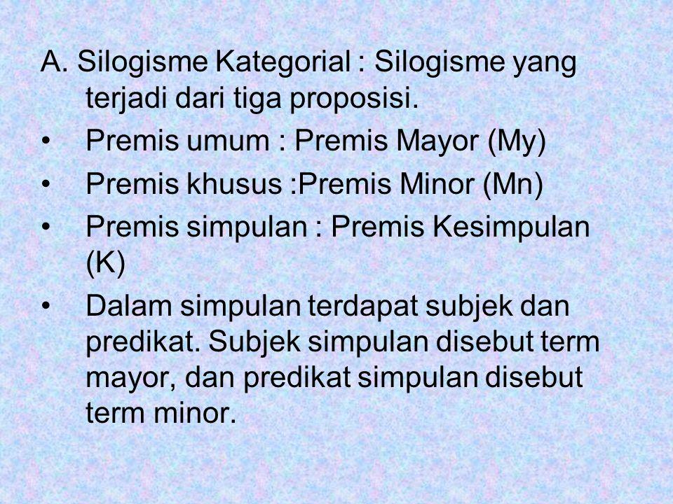 A. Silogisme Kategorial : Silogisme yang terjadi dari tiga proposisi.