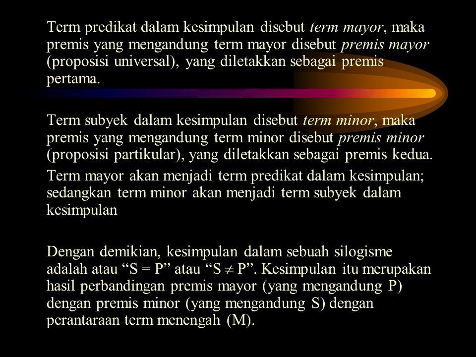 Term predikat dalam kesimpulan disebut term mayor, maka premis yang mengandung term mayor disebut premis mayor (proposisi universal), yang diletakkan sebagai premis pertama.