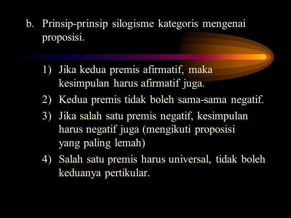 b. Prinsip-prinsip silogisme kategoris mengenai proposisi.