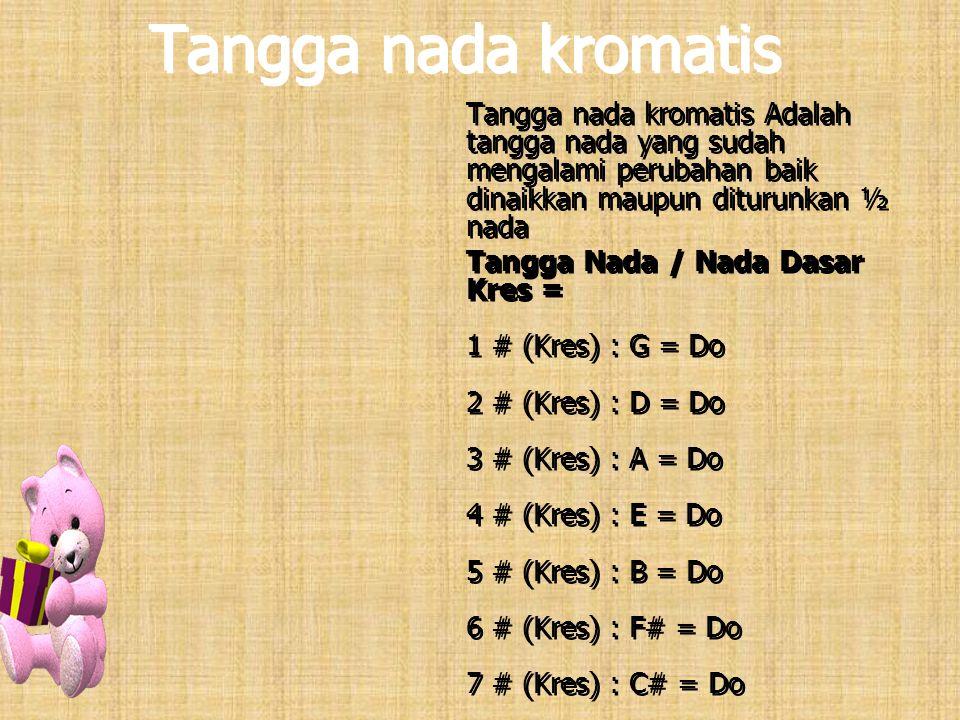 Tangga nada kromatis Tangga nada kromatis Adalah tangga nada yang sudah mengalami perubahan baik dinaikkan maupun diturunkan ½ nada.