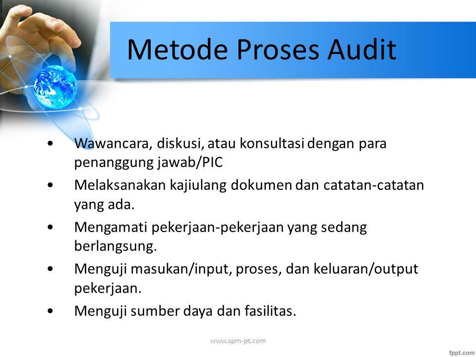 Metode Proses Audit Wawancara, diskusi, atau konsultasi dengan para penanggung jawab/PIC.