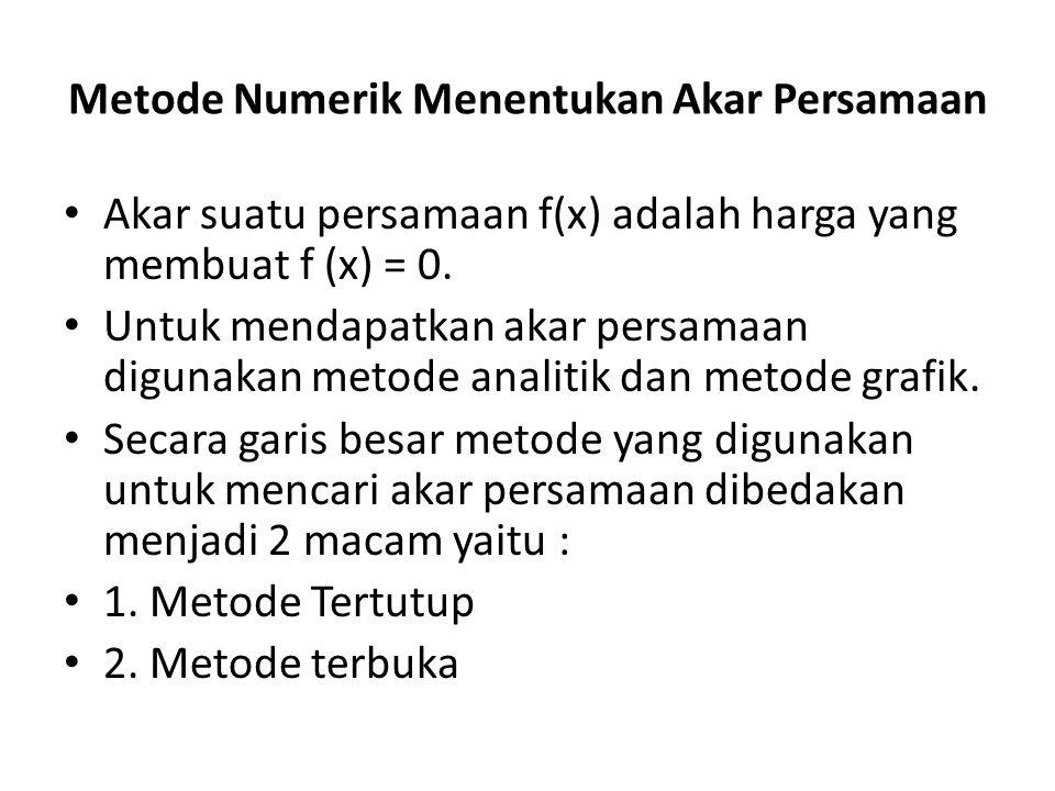Metode Numerik Menentukan Akar Persamaan